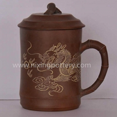 Nixing Pottery Dragon Tea Cup Ceramic Hand Carving Tea Mug Coffee Water Cup 450m