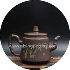 Kung Fu Teapot Bamboo Carving Pure Handmade Tea Pot