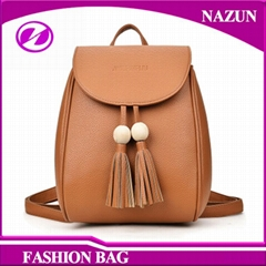 2017 simple elegant fashion PU leather backpack with embossed logo and tassels s
