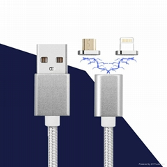3 in 1 android magnet cable nylon magnetic cable micro usb for mobile phone