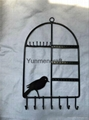 Black Metal Bird Cage Design Hanging Jewelry Rack Cosmetics Tray 1