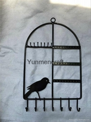 Black Metal Bird Cage Design Hanging Jewelry Rack Cosmetics Tray