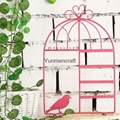 Black Metal Bird Cage Design Hanging Jewelry Rack Cosmetics Tray 2
