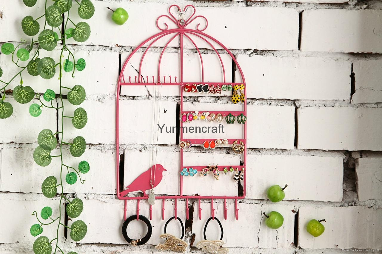 Black Metal Bird Cage Design Hanging Jewelry Rack Cosmetics Tray 3
