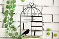 Black Metal Bird Cage Design Hanging Jewelry Rack Cosmetics Tray 4