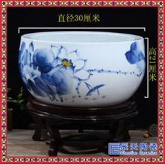 陶瓷手绘青花金鱼缸