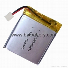 UL approval 3.7v 650mAh li polymer rechargeable battery for air purifier