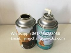 Empty tinplate aerosol can with valve and cap for air freshener