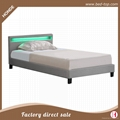 Latest Design Furniture Stunning Faux Leather Soft PU LED Bed 1