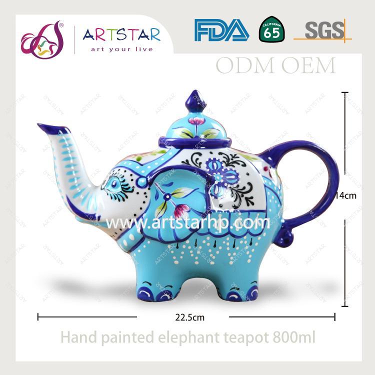 artstar hand painted personalized ceramic porcelain elephant teapot 1