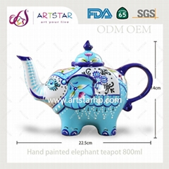 artstar hand painted personalized ceramic porcelain elephant teapot