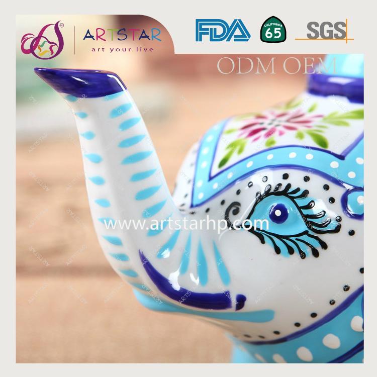 artstar hand painted personalized ceramic porcelain elephant teapot 2