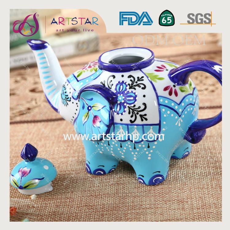 artstar hand painted personalized ceramic porcelain elephant teapot 4