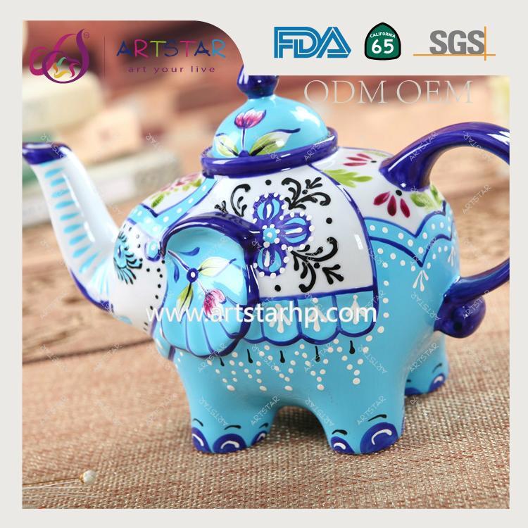 artstar hand painted personalized ceramic porcelain elephant teapot 5