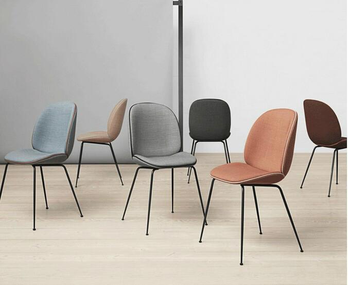 Upholstered ve  et metal base replica gubi beetle dining chair by gamfratesi 2