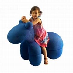 Fiberglass Shell Wool Kids Furniture Eero Aarnio Pony Chair