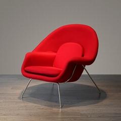 Mid-century Fiberglass Frame Wool Upholstery Eero Saarinen Womb Lounge Chair