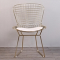 Mid century modern unupholstered PU harry bertoia wire chair 5