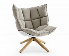 swivel modern living room fabric leisure lounge husk arm sofa chair