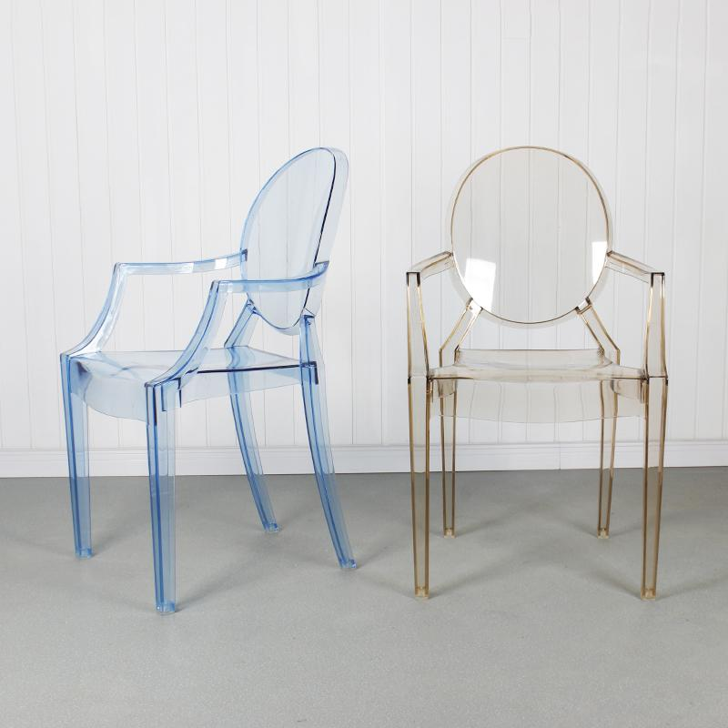 modern classic resin stackable louis ghost chair with arm 2