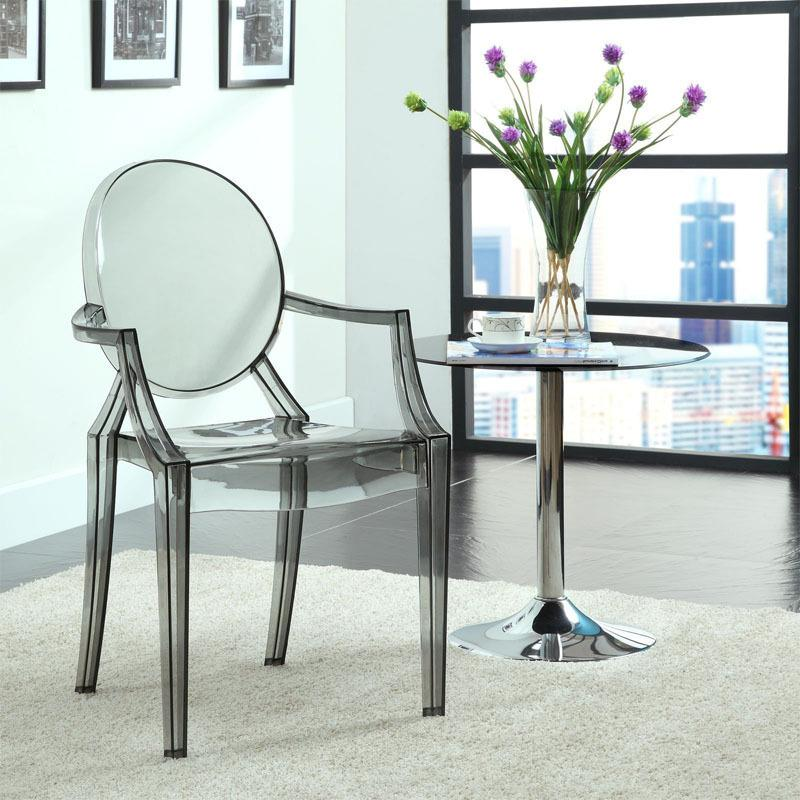 modern classic resin stackable louis ghost chair with arm 6