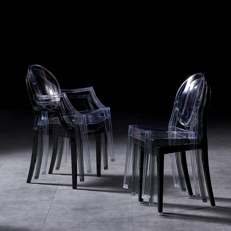 modern classic resin stackable louis ghost chair with arm 8