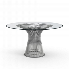 Modern Classic Stainless Steel Glass Dining Table by Warren Platner for Knoll