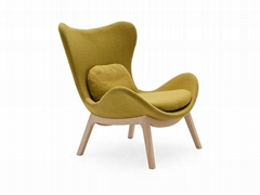 Home Decoration Fabric Lazy Wood Base Armchair By Calligaris