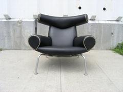 Home Design Stainless Steel Frame Leather Hans Wegner OX Lounge Chair