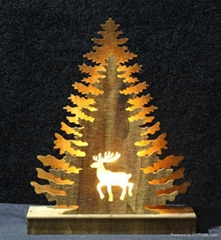 cheap plywood tree and deer elements