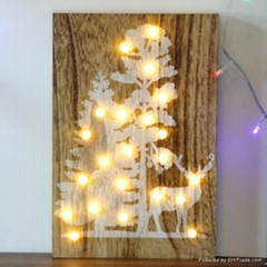 customized tree and deer led home wooden wall decorative board