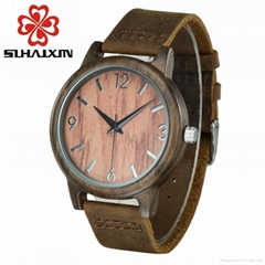 SIHAIXIN Wood Watch Men Red Color Vintage Arabic Numerals Dial With Top Brand Ma