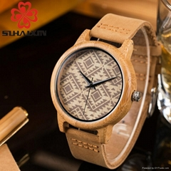 SIHAIXIN Antique Bamboo Wood Watches Men Genuine Leather Band Luxury Male Clock