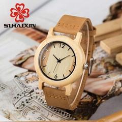 SIHAIXIN Wood Women Watch Leather Band Quartz Watches Natural Wood Bamboo Clock