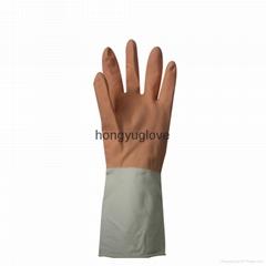 """12"""" 60克桔白双色喷绒家用乳胶手套"""