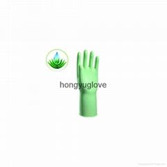 """12"""" 50克果绿色芦荟喷绒乳胶家用手套"""