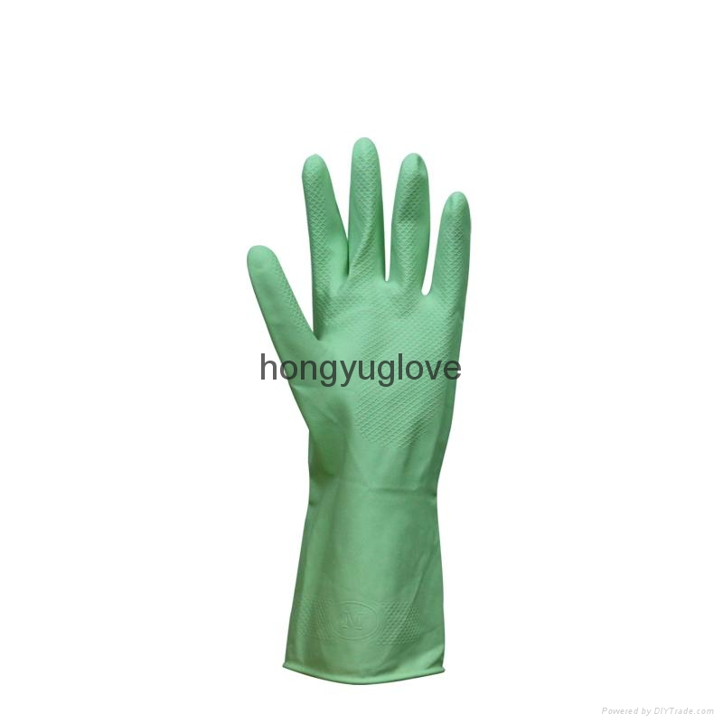 "12"" 50g Apple Green Flocklined Household Latex Glove With Aloe  2"