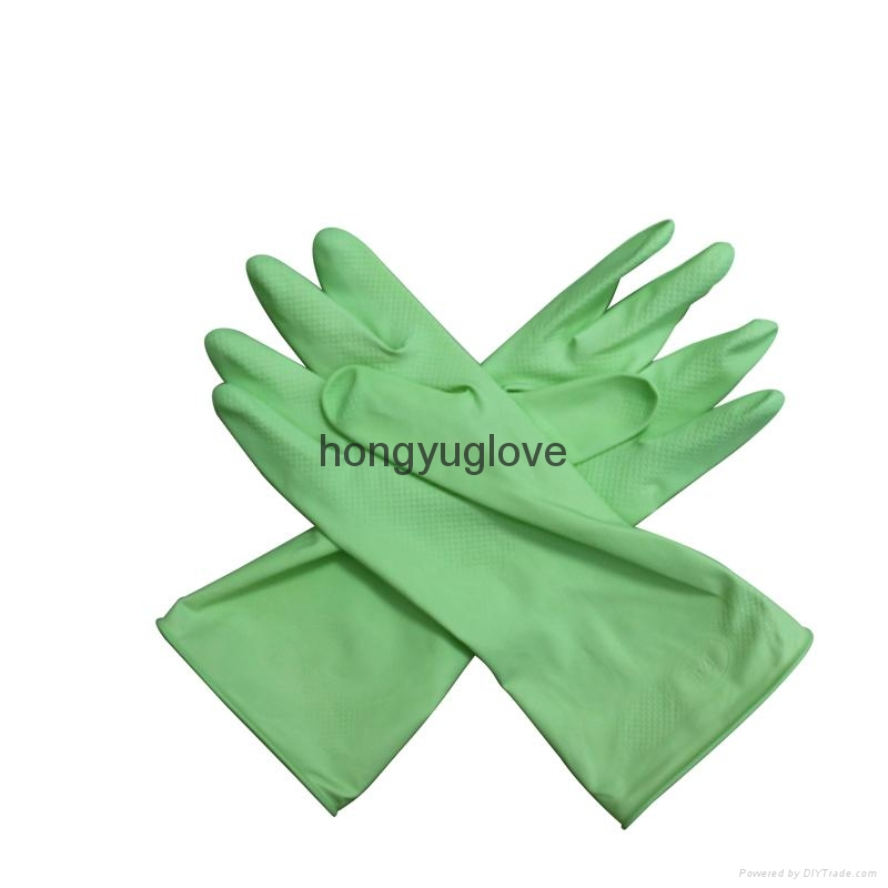 "12"" 50g Apple Green Flocklined Household Latex Glove With Aloe  3"