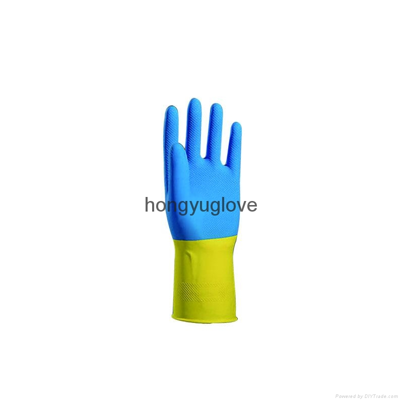 "12"" 22mil 90克蓝黄双色喷绒乳胶家用手套90克 1"