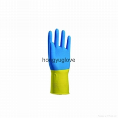 "12"" 22mil 90克蓝黄双色喷绒乳胶家用手套90克"