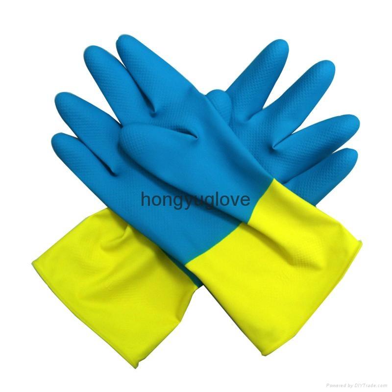 "12"" 22mil 90克蓝黄双色喷绒乳胶家用手套90克 4"
