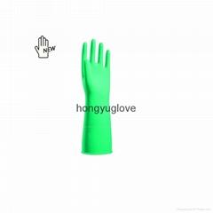"13""16mil Green Flocklined Anti-microbial Latex Industrial Glove"
