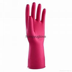 12'' 40克玫紅色光里丁腈魚鱗紋家用手套
