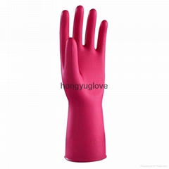 12'' 40g Rose red unlined nitrile protective fish-scale pattern household glove
