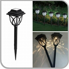 Rechargeable Decorative Plastic Solar Powered LED Lantern Stake Path Light