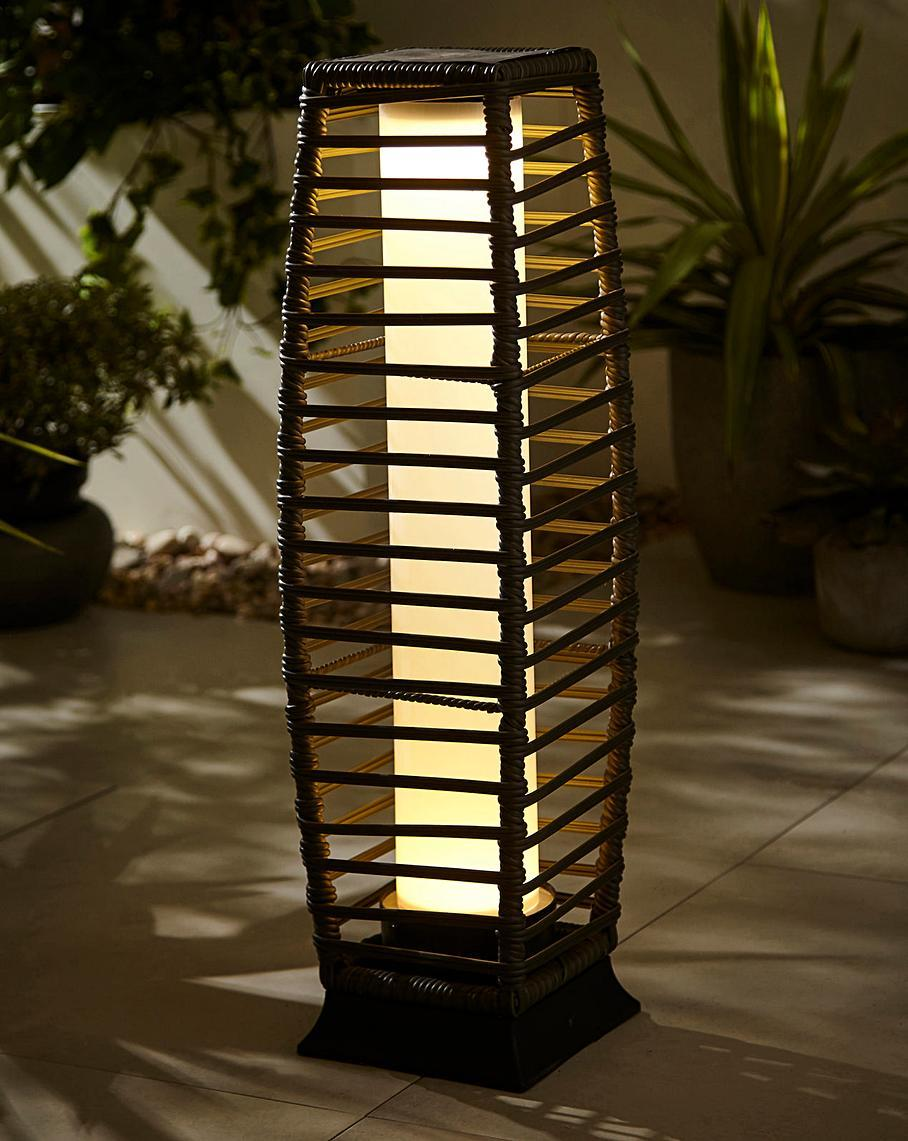 Rattan Solar Pillar Lantern,solar garden lighting,solar led landscape lighting 1