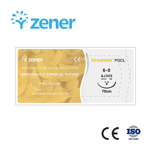 Absorbable surgical suture (PGCL suture),Poly(glycolide co-caprolactone) suture