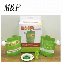 baby soft food spout pouch bag with cap