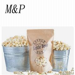 Matt kraft paper stand up ziplock popcorn food pouch bags with window