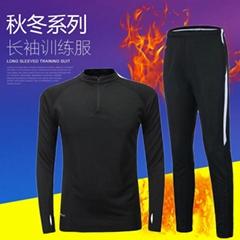 厂家批发17秋冬新款长袖训练服男士休闲健身衣跑步运动足球服套装